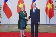 国家主席陈大光与智利总统米歇尔·巴切莱特召开联合新闻发布会