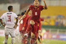 越南U23足球队4比0横扫东帝汶队