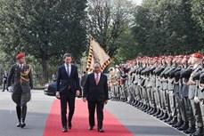 奥地利总理塞巴斯蒂安举行隆重仪式 欢迎阮春福总理到访