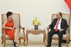 阮春福总理会见即将离任前来辞行拜会的意大利驻越大使