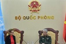 越南国防部副部长阮志咏上将会见联合国开发署驻越代表