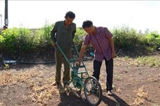 Hiệu quả cao từ máy gieo hạt và bón phân do anh Nguyễn Văn Anh sáng chế