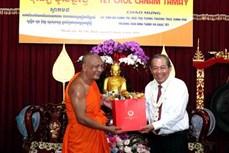 政府副总理张和平向胡志明市高棉族同胞和南宗僧尼佛子致以新年祝福
