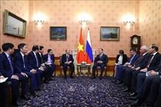 越南政府总理阮春福同俄罗斯总理梅德韦杰夫举行会谈