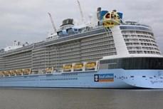 """搭载5700多名游客的美国皇家加勒比""""海洋光谱号""""邮轮抵达越南"""