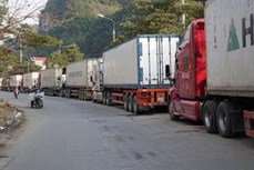 越南北部边境口岸等待通关货运车辆依然较多