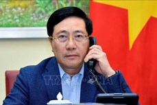 越南政府副总理兼外交部长范平明与新加坡外长维文通电话