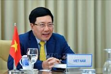 越南政府副总理兼外长范平明与委内瑞拉外长豪尔赫·阿雷亚萨举行视频会谈