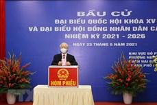国会和人民议会换届选举:越共中央总书记阮富仲在河内市二征夫人郡选区参加投票