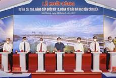 越南国会主席王廷惠出席10号公路海防路段升级改造项目动工仪式
