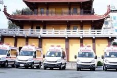 越南佛教协会胡志明市分会捐赠10辆救护车 助力防疫工作