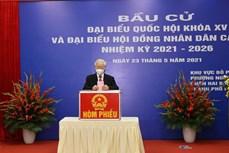 Tổng Bí thư Nguyễn Phú Trọng bỏ phiếu bầu cử tại quận Hai Bà Trưng, Hà Nội