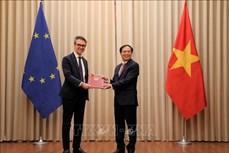 越南代表向欧盟驻河内代表团递交EVFTA和EVIPA的批准文件