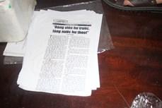 和平省两人涉嫌散发攻击越南社会主义制度的宣传品被拘留