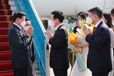 老挝人民革命党中央总书记、国家主席抵达首都河内开始对越南进行正式友好访问