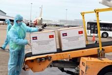 新冠肺炎疫情:胡志明市接受柬埔寨政府和人民捐赠的防疫物资