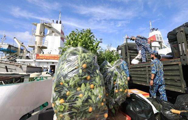 海军第四军区司令部给长沙岛县送去春节礼物 hinh anh 1
