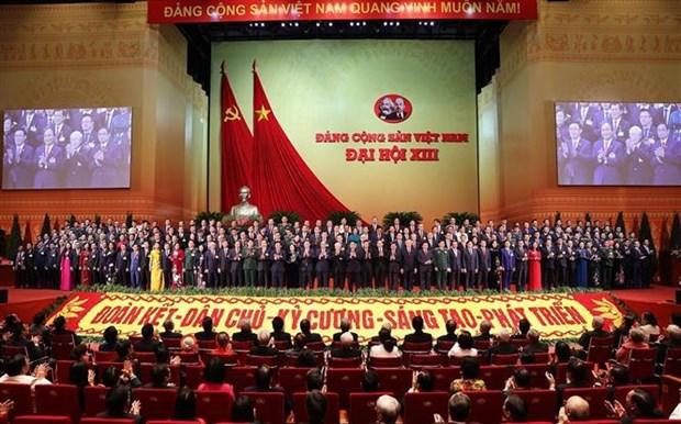 越南共产党第十三届中央委员会亮相 中央委员会以高度一致选举阮富仲同志为越共中央总书记 hinh anh 1