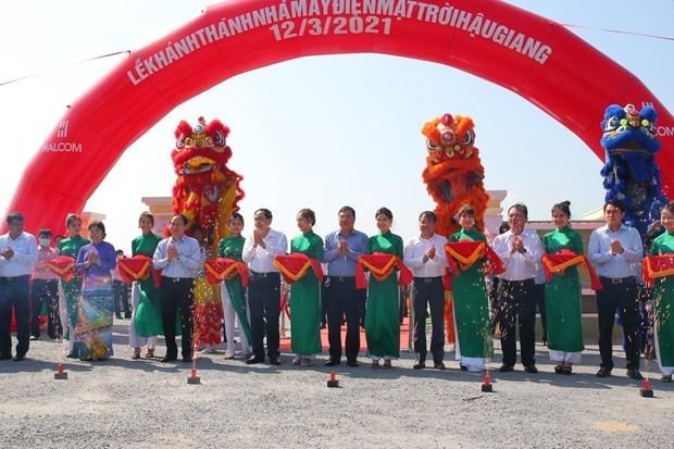 越南西南部地区首家太阳能发电厂竣工 hinh anh 1