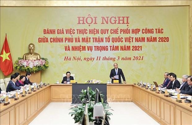 阮春福总理:政府和祖国阵线协调机制运行良好 hinh anh 1