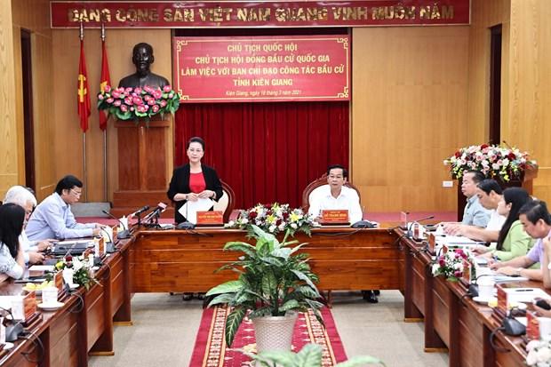 国会代表和各级人民议会代表换届选举:阮氏金银视察坚江``` hinh anh 1