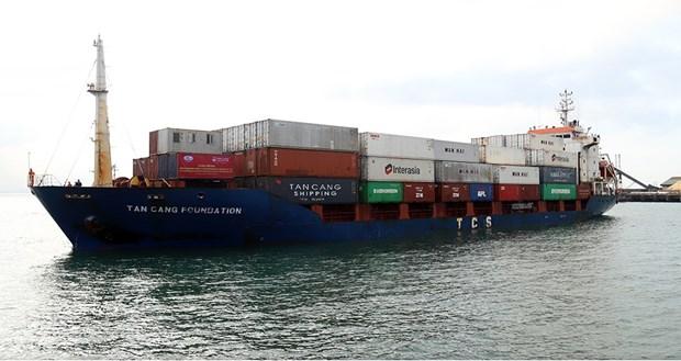 老越国际港口迎接第一艘集装箱船 hinh anh 1