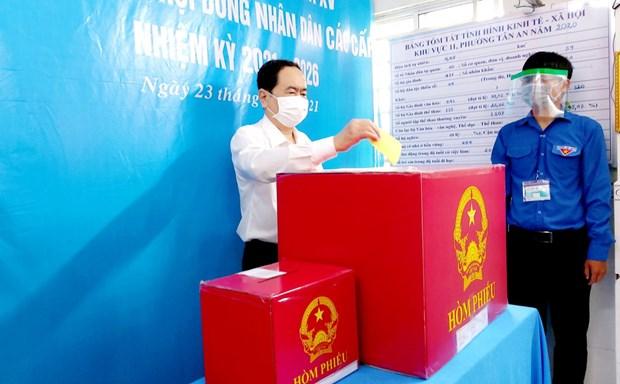 国会和人民议会换届选举:国会常务副主席陈青敏在芹苴市参加投票 hinh anh 1