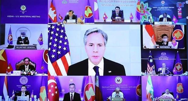 东盟-美国外长会:优先应对疫情 援助促进可持续复苏 hinh anh 1
