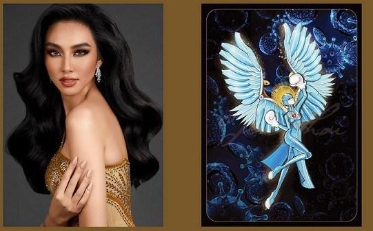 """2021年万国小姐选美大赛国服秀:越南代表选择了一件名为""""天使""""的国服服装 hinh anh 1"""