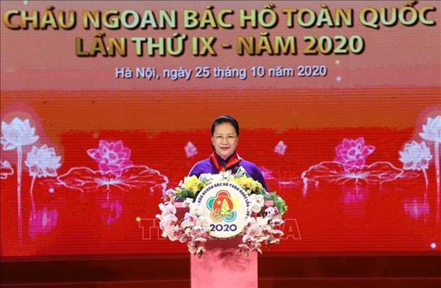 越南国会主席阮氏金银出席第九届全国胡伯伯好孩子表彰大会 hinh anh 2