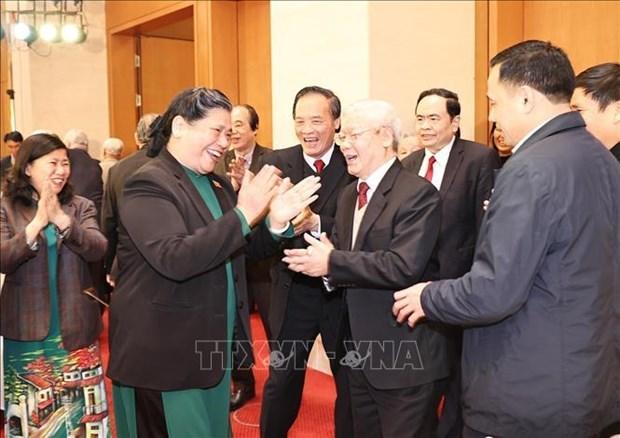 越共中央总书记、国家主席阮富仲出席首次国会普选75周年纪念见面会 hinh anh 2
