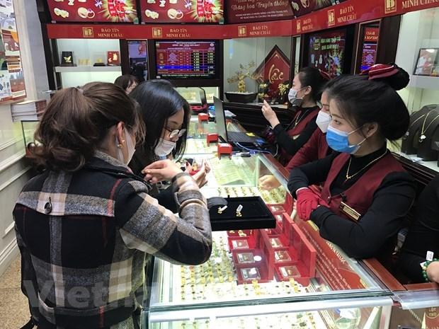 13日上午越南国内市场黄金价格每两超过5600万越盾 hinh anh 1