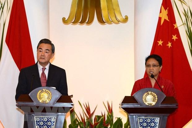 中国外长王毅与印尼外长蕾特诺就缅甸问题通电话 hinh anh 1