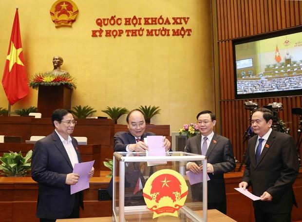 越南第十四届国会第十一次会议:免去邓氏玉盛的国家副主席职务 hinh anh 1