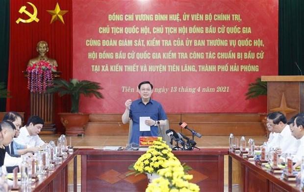 越南国会主席王廷惠赴海防市仙浪县检查指导换届选举筹备工作 hinh anh 1