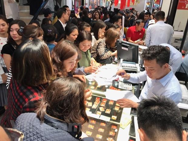 19日上午越南国内市场黄金价格每两接近56万越盾 hinh anh 1