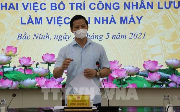北宁省安排工人从6月2日起住厂工作 hinh anh 1