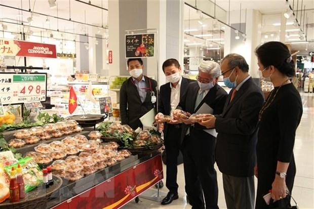 越南新鲜荔枝首次在日本鹿儿岛超市上架 hinh anh 1