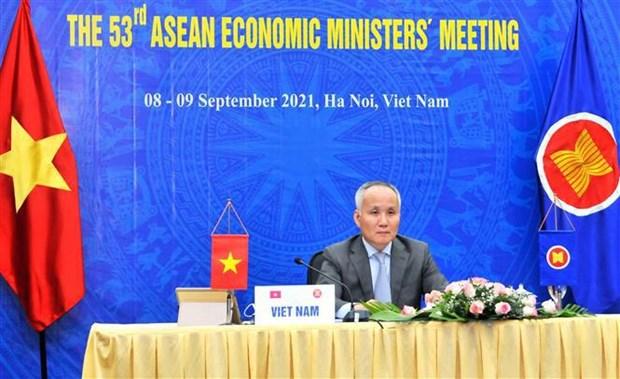 第53届东盟经济部长会议:通过《斯里巴加湾市数字化转型路线图》 hinh anh 1