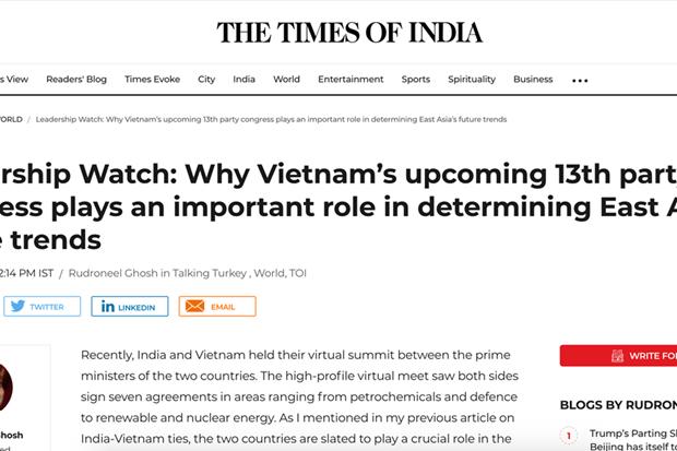 《印度时报》:越南已取得令人印象深刻的成就 hinh anh 1