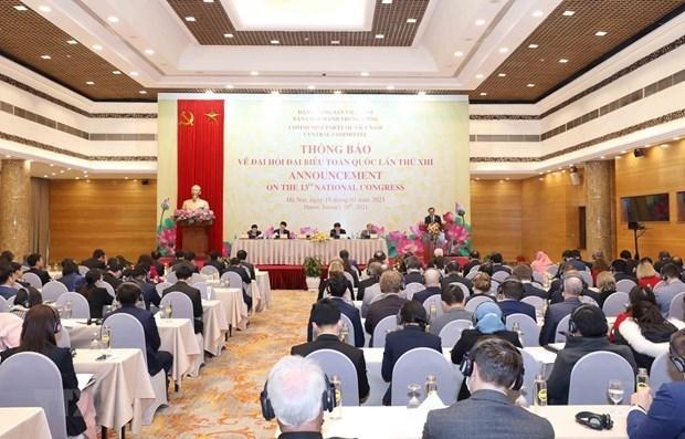 越共中央委员会邀请驻越外交使团和国际组织出席越共十三大开幕会和闭幕会 hinh anh 1