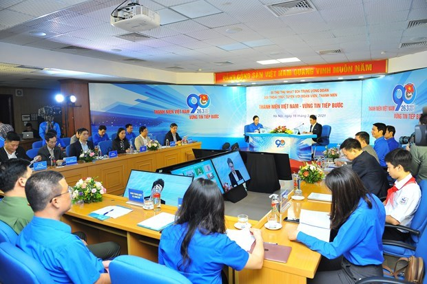 胡志明共青团中央委员会第一书记与青年团员进行视频对话 hinh anh 1