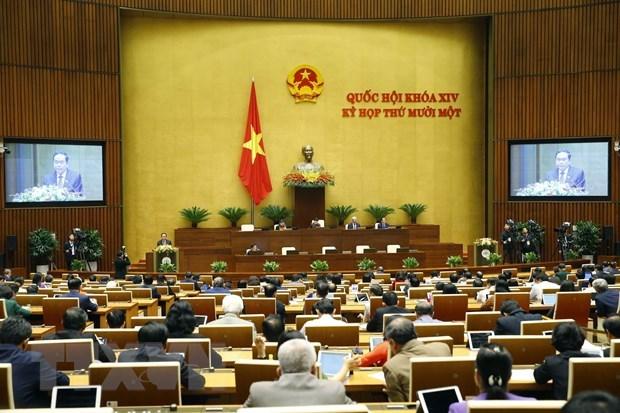 国会今日讨论第十四届国会任期工作报告(草案) hinh anh 1