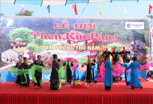莱州省泰族同胞富有特色的天金乓传统文化节 hinh anh 1