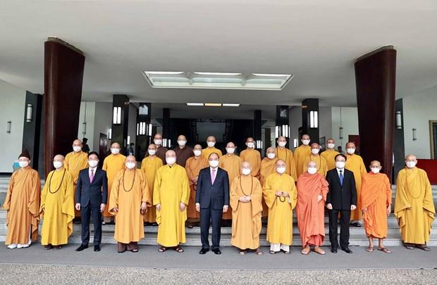 国家主席阮春福会见越南佛教协会领导代表团 hinh anh 2