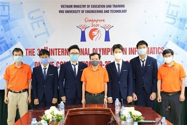 越南4名学生参加2021年国际信息学奥林匹克竞赛均获得银牌 hinh anh 1