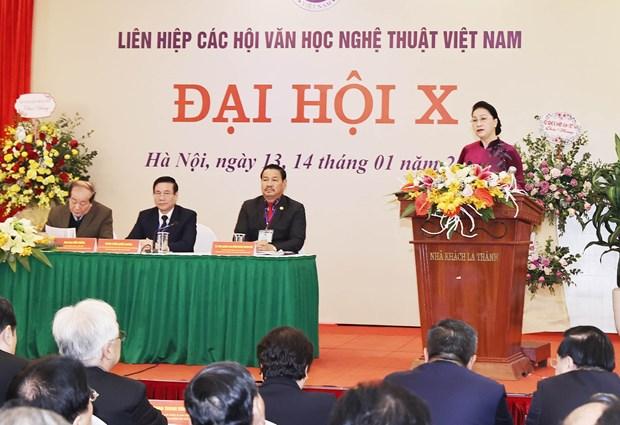 越南国会主席阮氏金银出席越南文学艺术协会联合会全国代表大会 hinh anh 1
