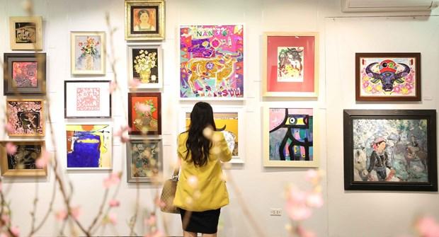 2021辛丑年贺党迎春美术展在河内市举行 hinh anh 2