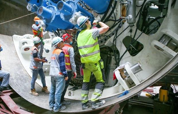 河内城铁呠-河內站段预计5月1日在地下开挖4公里隧道 hinh anh 1