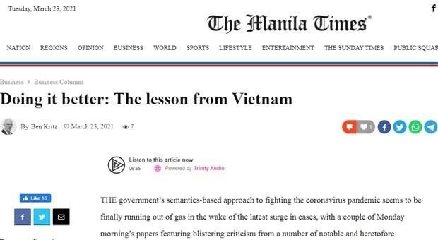 """菲律宾传媒:越南创造了抗击新冠肺炎疫情的""""妙招"""" hinh anh 1"""